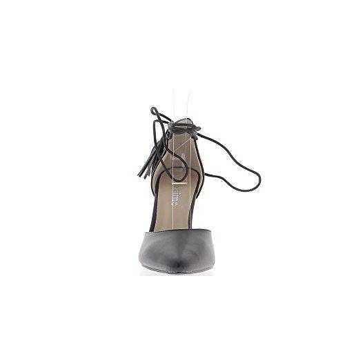 Escarpins noirs ouverts pointus à talon de 10cm avec lacet