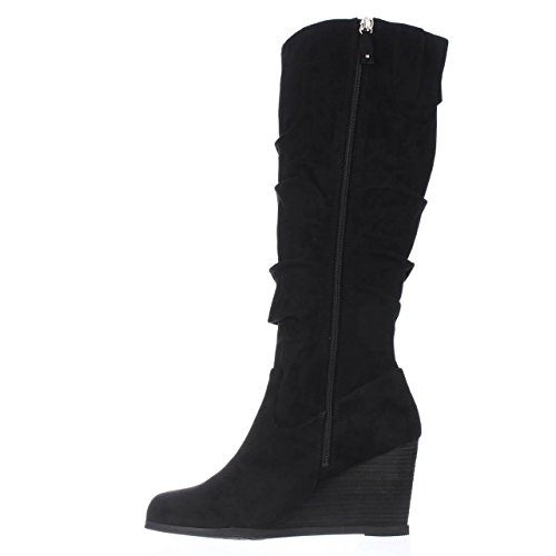 Dr. Scholl's Shoes Women's Poe Wide Calf Slouch Boot, Black Microsuede, 9 M US