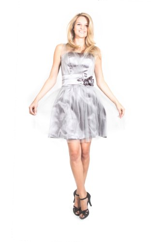 AvaMia Abendkleid Chiffon knielang Chiffonkleid Cocktailkleid Festliches Grau Kleid rC8Owrq1x