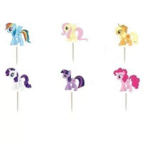 ChaoiWah 24pc My Little Pony Cupcake Toppers for Birthday Party Event Decor