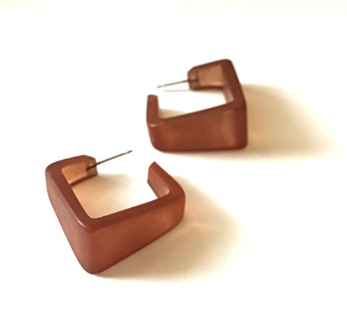 - Brown Square Hoop Earrings | Vintage Frosted Wide Cubist Square Hoops