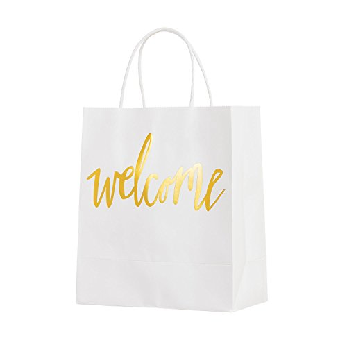 (Ling's moment Set of 25 White Gold Welcome Bags for Wedding Party Gift Bags for Hotel Guests, Weekend Destination Wedding Favors)