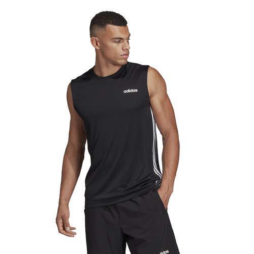 adidas Men's Designed 2 Move 3-Stripes Sleeveless Tee, Black, Large