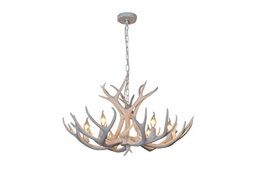 (EFFORTINC Resin Antler Chandeliers 6 Light 33.8