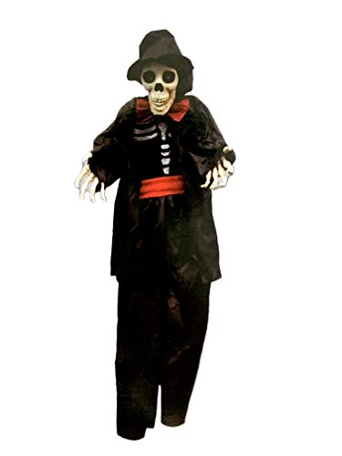 - Yikes in the Yard 3 Foot Hanging Reaper Groom Skeleton Light Up Flashing Halloween Prop