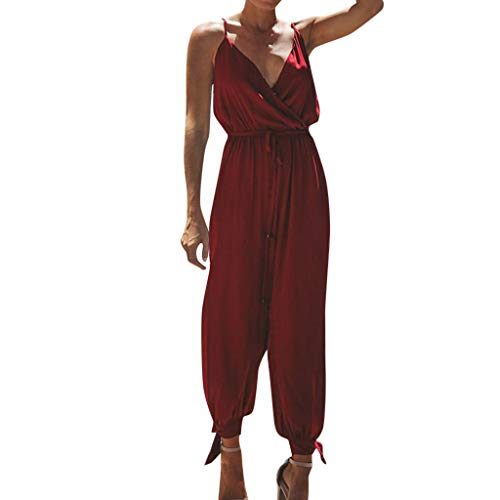 - Women's Solid Color Casual Sleeveless V-Neck Strap Lace Jumpsuit Romper Playsuit