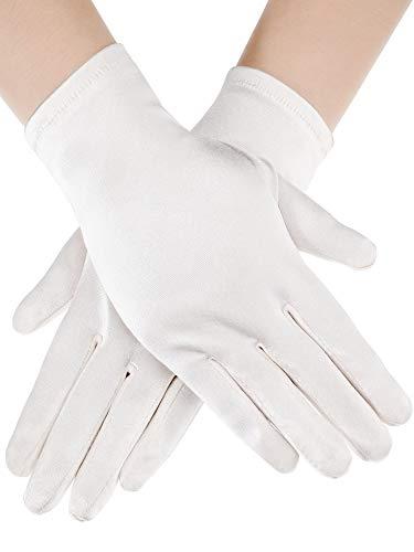 (Sumind Short Satin Gloves Wrist Length Gloves Women's Gown Gloves Opera Wedding Banquet Dress Glove for Party Dance (Ivory, M Size))