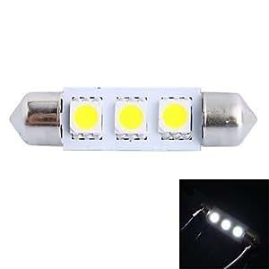 39mm 0,6W 50lm 6000K 3x 5050SMD LED blanco para coche de Lectura/matrícula/lámpara de luz para puerta (DC 12V)