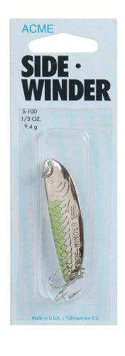 Acme Sidewinder Fishing Terminal Tackle, 1/3-Ounce, Nickel Chartreuse Stripe