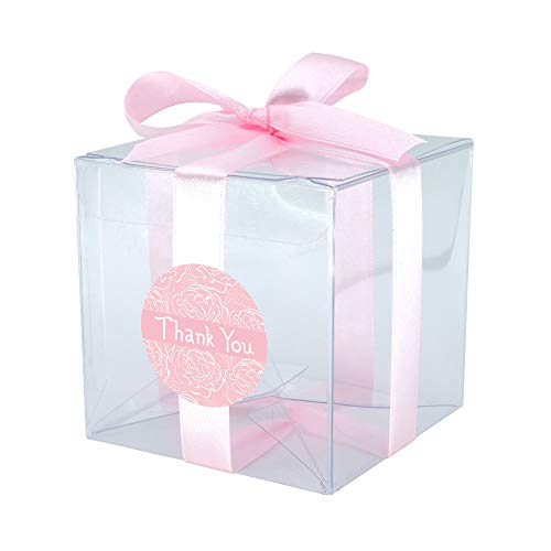 Keepsake Candle Wedding Favors - Gechtas 20Pcs PET Crystal Clear Cube Gift Boxes, 3