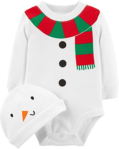 Carter's Unisex Baby 2-Piece Christmas Bodysuit & Hat Set (3 Months, White Snowman)