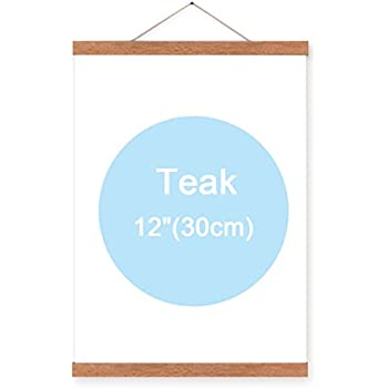 Magnetic Poster Frame Hanger - Oak Wood Artwork Print Holder Canvas Quilt Wooden Hanging HD07 (Teak color)
