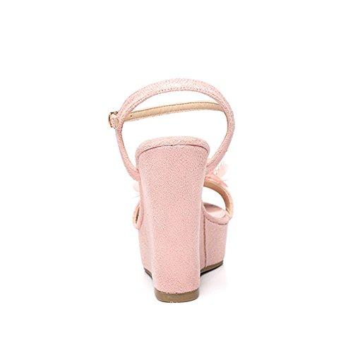 Stil Veving Vanntett Kiler Kvinnelige Fantastiske 12cm Cn39 Rosa Sandaler Gress Romersk Colorblock Sommer farge Frostet 9cm Blå Plattform Eu39 Størrelse Sko Uk6 w0B40Pq