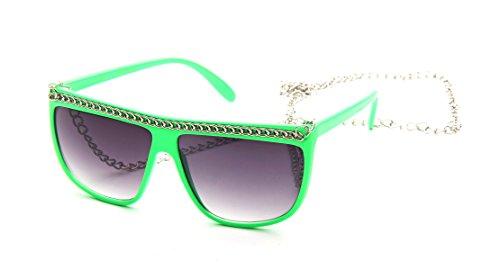 Fashion Sunglasses Chain Link Multiple Colors Thick Frames Flat - Sunglasses Chain Link
