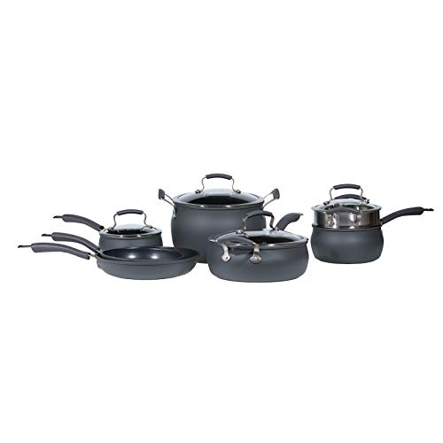 Epicurious Cookware Collection- Dishwasher Safe Oven Safe, Nonstick Hard Anodized 11 Piece Cookware Set