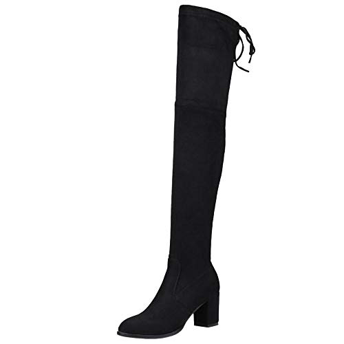 Melady Women Fashion Mid Heels Boots Above The Knee Pull On Black