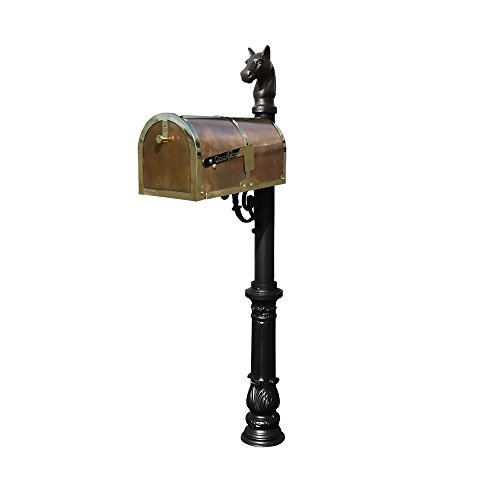 Provincial Collection Brass Mailbox in Polished Brass with decorative Lewiston post, #7 Ornate base and #1 Horsehead finial in Black