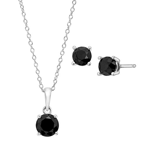 2 ct Black Diamond Pendant & Earrings Set in Sterling Silver