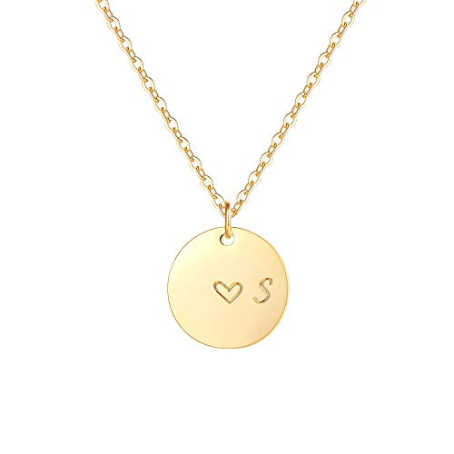 Gold Initial S Pendant Necklaces,14K Gold Filled Engraved Disc Personalized Name Dainty Handmade Cute Heart Initial S Tiny Pendant Necklaces Jewelry Gift for ()