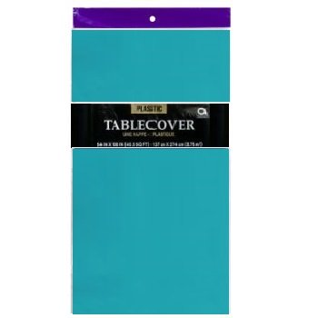 - 1 DISPOSABLE PLASTIC TABLE COVER / TABLECLOTH (Teal)