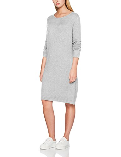 Vila Viril L/S Knit Dress-Noos, Vestido para Mujer Gris (Light Grey Melange)