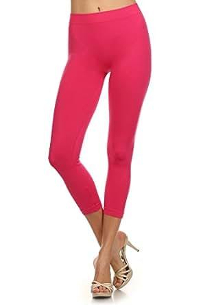 WHITE APPAREL Women Seamless Capri Length Leggings - Fuchsia