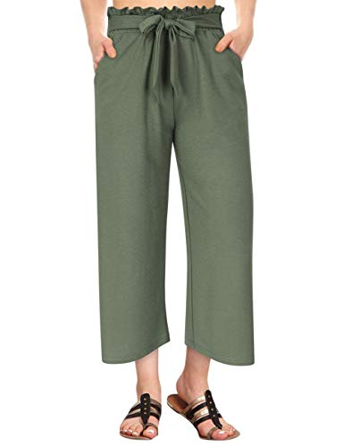 GlorySunshine Women's Elastic Waist Solid Palazzo Casual Wide Leg Pants with Pockets (M, Army-Bowknot)