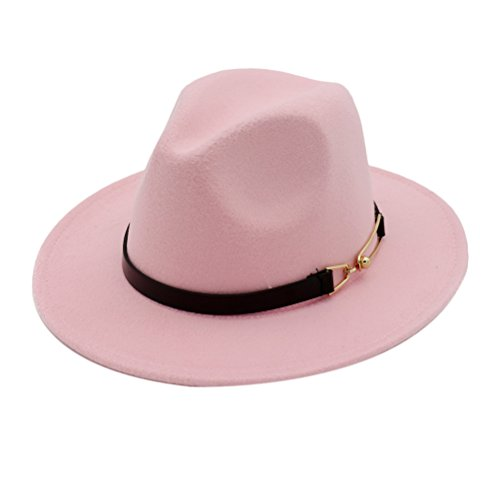 Zhhlinyuan Womens Felt Jazz Cap(PU Leather Band Decor) Plain Round Top Bowler Hat (Ladies Leather Hats)