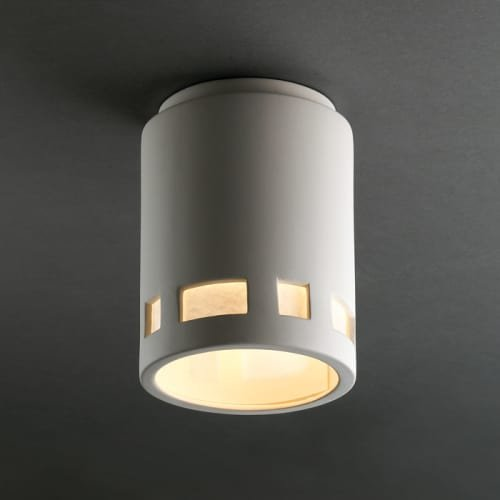 Justice Design Group Radiance Collection 1-Light Flush-Mount - Bisque Finish