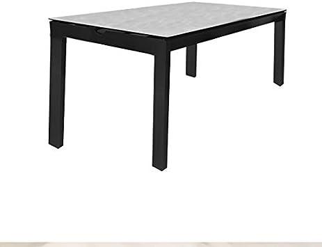 Muebletmoi - Mesa de comedor para jardín de aluminio antracita, 2 cajones y bandeja de cerámica de 8 mm sobre cristal templado - MOSA