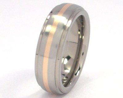6mm 14k Yellow Gold Inlay Titanium Band Titanium Wedding Ring
