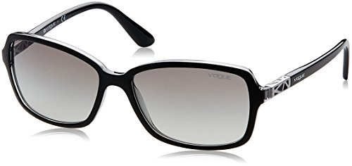VOGUE Women's Astral Collection Rectangular Sunglasses, Top Matte Black/Grey Transparent, 58 mm Vogue Collection Sunglasses