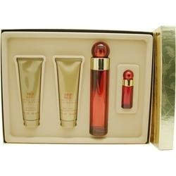 360 Red By Perry Ellis For Women - 4 Pc Gift Set 3.4oz Edp Spray, 3oz Shower Gel, 3oz Body Lotion And 7.5ml Mini