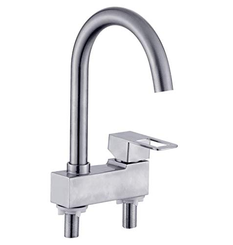 Excluding Tap - Faucerd 304 Stainless Steel Faucet Hot Tap Hole Double Washbasin Taps Two,Single Mixing Valve, Excluding Water Inlet Pipequality Assurance Of Modern And Simple Classic Retro Luxury Home Decoration