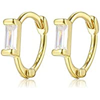 Mini Clicker Hoops with Baguette CZ | 925 Sterling Silver | Tiny Zirconia Huggies | Earring Gift for Her…