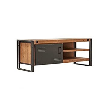 Meuble TV/buffet bas vintage 1 porte & 2 niches/Bois d\'acacia massif ...
