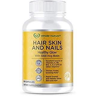 Hair Skin Nails and Vitamins Supplement 60 Capsules with MSM, Biotin 5000 mcg for Hair Growth Healthy Natural Collagen Growth Glowing Skin Shine Strong Nails for Men Women Energy Resilience Strength
