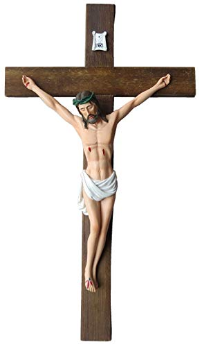 Jesus Christ on Wall Cross 12'' Crucifix Solid Wood Cross High Resin Statue Figure Collectible Sculpture Catholic Home Chapel Décor (12'') (Statue Of Jesus Christ On The Cross)