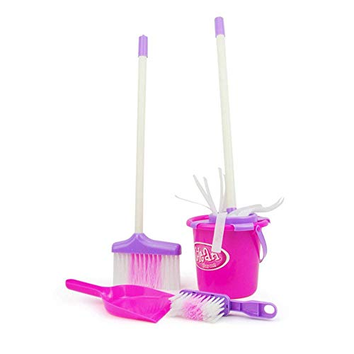 AOLVO Kids Broom Set, Let's Play House Dust, Pretend Play Cleaning Set Mini Cleaning Supplies Toys Include Broom, Mop, Brush, Cleaning Bucket, - And Broom Baby Mop