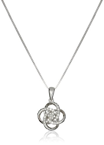 Sterling Silver Diamond Love Knot Pendant Necklace and Earrings Boxed Jewelry Set (1/4cttw, J K Color, I2 I3 Clarity), 18""