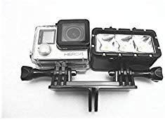 Williamcr Dual Twin Mount Adapter for GoPro Hero 7// 2018 6 5 Black,4 Session,4 Silver,3+,YI,Campark,AKASO,SJCAM,DJI Osmo Action Cameras