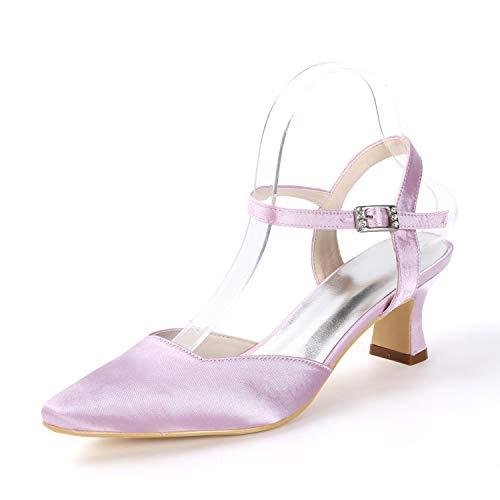 Cerrada L Tacón Boda yc Chunky Hebilla Satén Con De Para Zapatos Pink Alto Tacones Altos En Punta 5cm Mujeres 5 wxr1a0xtq