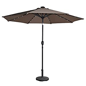 Crazyworld OutdoorTilting Solar Powered 32 LED Lighted Aluminum Patio Table Umbrella, 8 Rib Market Umbrella, 100% Polyesterwith Tilt Adjustment and Crank Lift SystemBrown (10x10 FT)