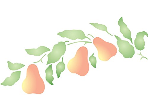 "Terra Cotta Pear - Pear Branch Stencil - (size 12.5""w x 6.5""h) Reusable Wall Stencils for Painting - Best Quality Fruit Kitchen Stencil Ideas - Use on Walls, Floors, Fabrics, Glass, Wood, Terracotta, and More…"