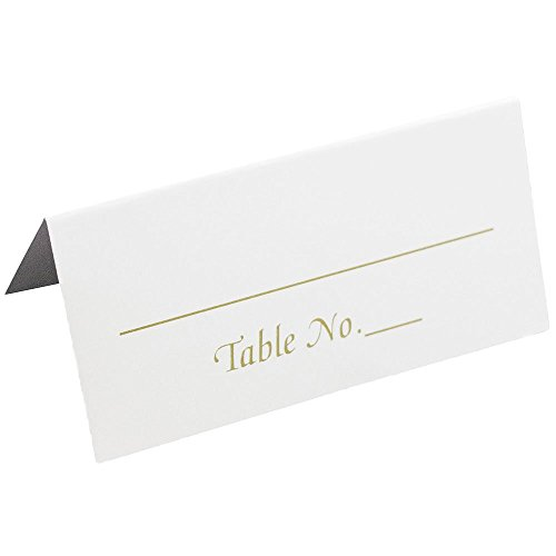 "JAM Paper® Foldover Table Number Placecards - Small (3 3/8"" x 1 7/8"") - White with Gold ""Table No."" Writing - 50 Placecards per Pack"