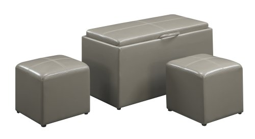 Leather Accent Bench (Convenience Concepts Designs4Comfort Sheridan Faux Leather Storage Bench with 2 Side Ottomans,)