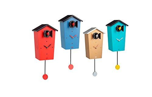 Orologio Cucu Moderno Offerte.Kookoo Birdhouse Rosso Orologio Cucu Design Moderno Canto Di 12 Uccelli Canori O Cuculo Orologio C Pendolo Registrazione Naturale Di Jean Claude