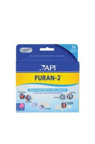 API FURAN-2 Fish Powder Medication 10-Count Box Saltwater Fish Medication