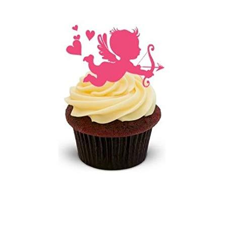 CUTE PINK CHERUB - Standups 12 Edible Standup Premium Wafer Cake Toppers