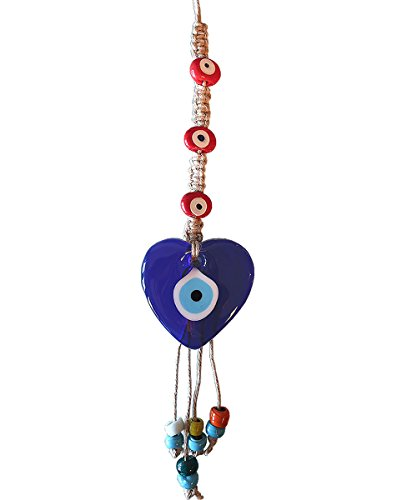 Ebsem Hemp Macrame Evil Eye Wall Hanging Glass Charm Decorative Turkish - Greek - Jewish - Christian Christmas Ornament Handmade hristmas Spiritual Gifts (Heart)